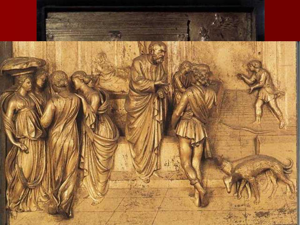 De carácter específicamente escultórico es la forma de acometer el relieve. Ghiberti ha representado con un relieve claramente destacado las figuras q