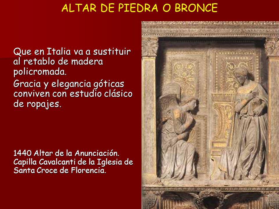 Que en Italia va a sustituir al retablo de madera policromada. Gracia y elegancia góticas conviven con estudio clásico de ropajes. 1440 Altar de la An