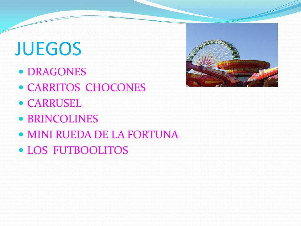 JUEGOS DRAGONES CARRITOS CHOCONES CARRUSEL BRINCOLINES MINI RUEDA DE LA FORTUNA LOS FUTBOOLITOS
