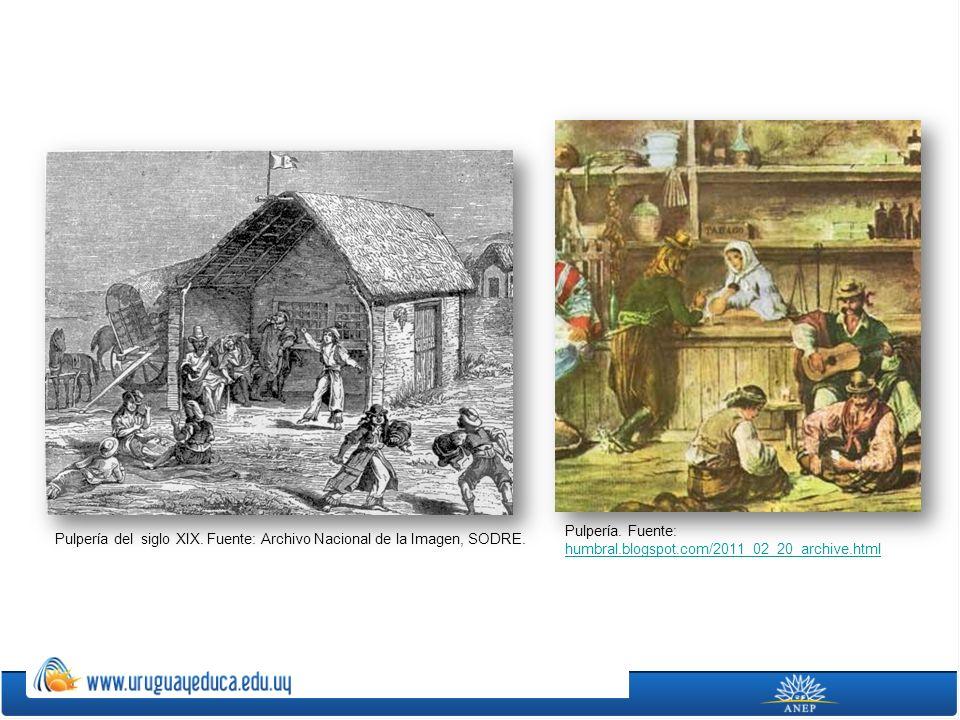 Pulpería del siglo XIX. Fuente: Archivo Nacional de la Imagen, SODRE. Pulpería. Fuente: humbral.blogspot.com/2011_02_20_archive.html humbral.blogspot.
