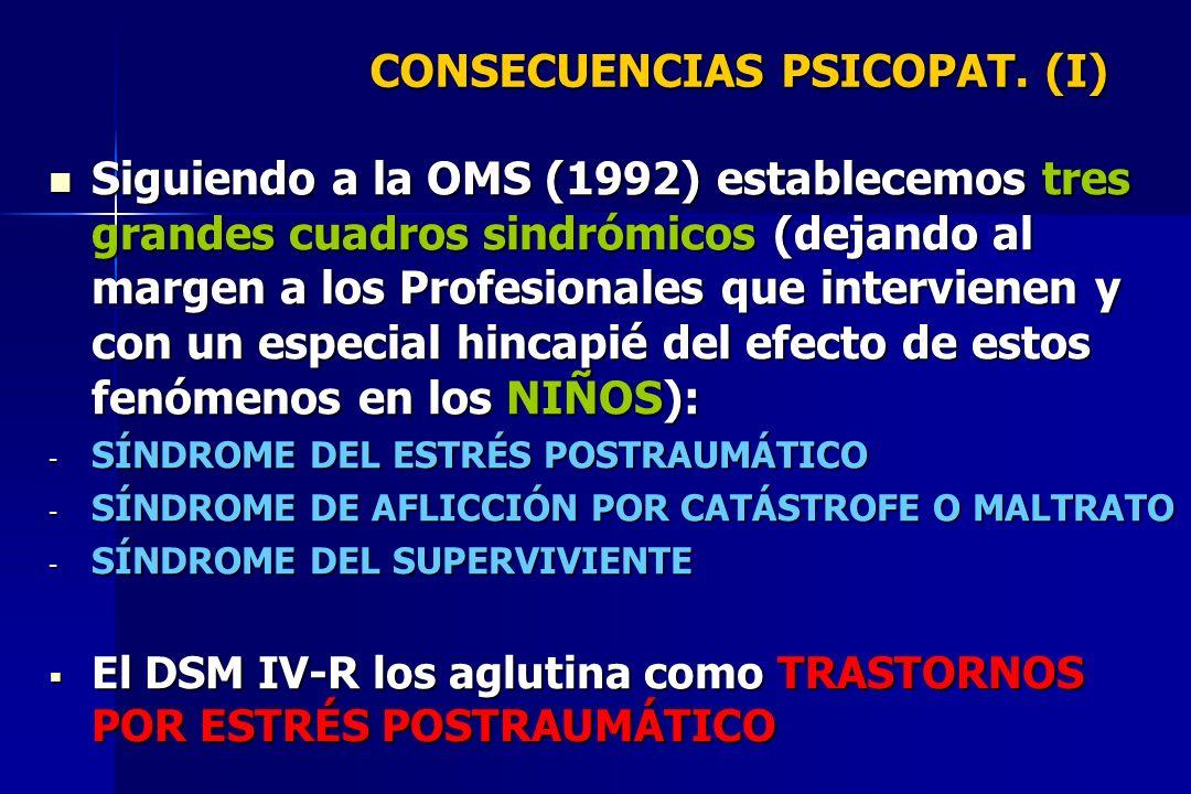 CONSECUENCIAS PSICOPAT. (I) Siguiendo a la OMS (1992) establecemos tres grandes cuadros sindrómicos (dejando al margen a los Profesionales que intervi
