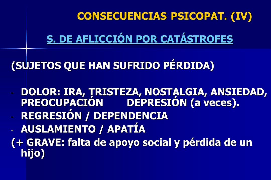 CONSECUENCIAS PSICOPAT. (IV) S. DE AFLICCIÓN POR CATÁSTROFES (SUJETOS QUE HAN SUFRIDO PÉRDIDA) - DOLOR: IRA, TRISTEZA, NOSTALGIA, ANSIEDAD, PREOCUPACI