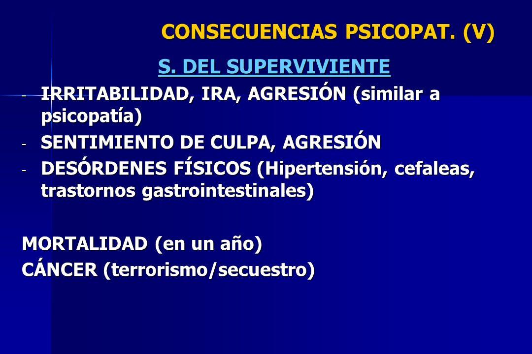 CONSECUENCIAS PSICOPAT. (V) S. DEL SUPERVIVIENTE - IRRITABILIDAD, IRA, AGRESIÓN (similar a psicopatía) - SENTIMIENTO DE CULPA, AGRESIÓN - DESÓRDENES F