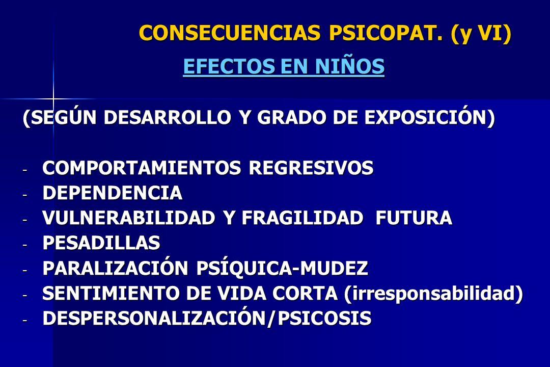 CONSECUENCIAS PSICOPAT. (y VI) EFECTOS EN NIÑOS (SEGÚN DESARROLLO Y GRADO DE EXPOSICIÓN) - COMPORTAMIENTOS REGRESIVOS - DEPENDENCIA - VULNERABILIDAD Y