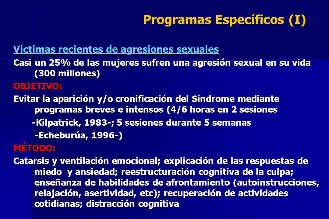 Programas Específicos (I) Víctimas recientes de agresiones sexuales Casi un 25% de las mujeres sufren una agresión sexual en su vida (300 millones) OB