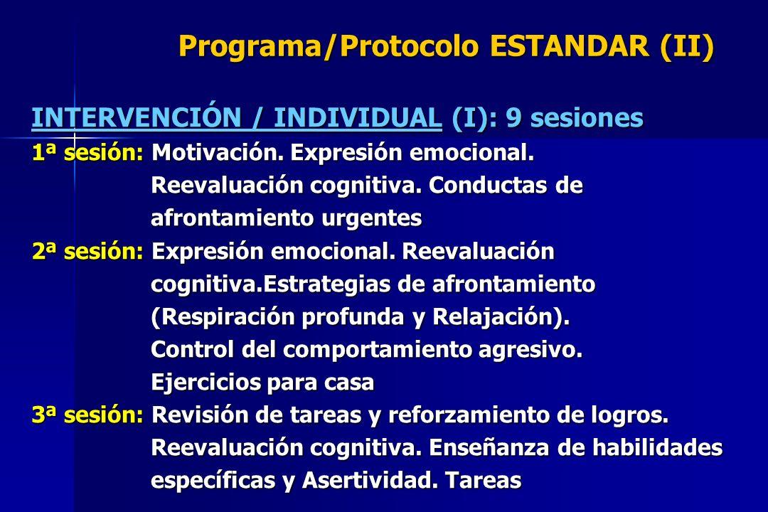 Programa/Protocolo ESTANDAR (II) INTERVENCIÓN / INDIVIDUAL (I): 9 sesiones 1ª sesión: Motivación. Expresión emocional. Reevaluación cognitiva. Conduct