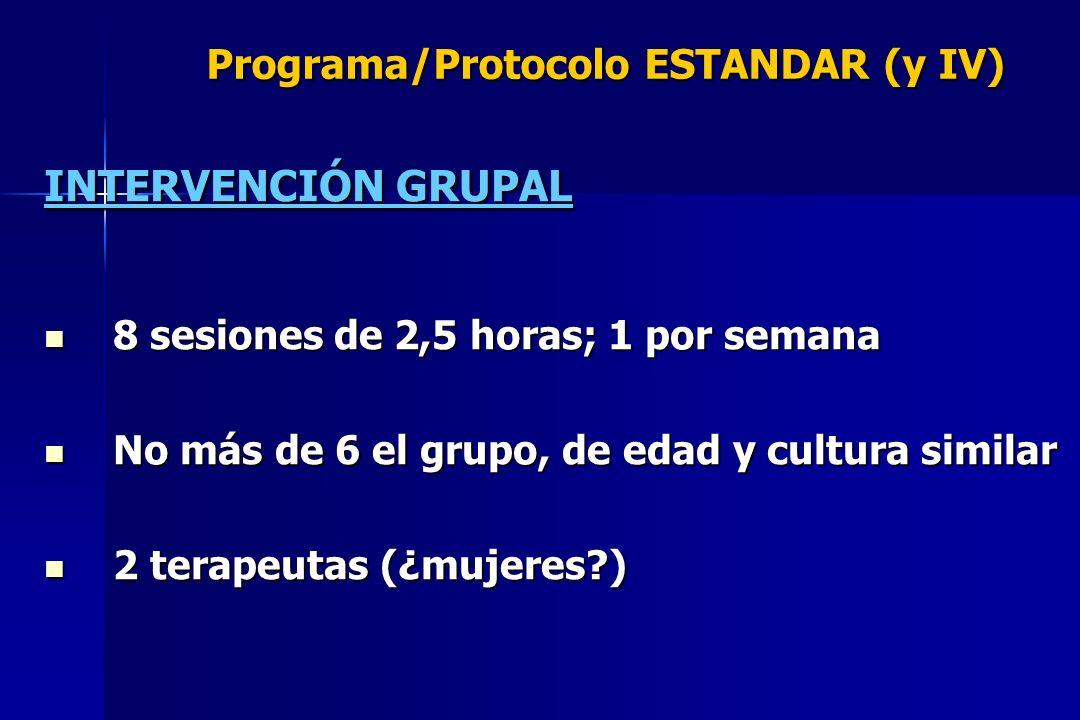 Programa/Protocolo ESTANDAR (y IV) INTERVENCIÓN GRUPAL 8 sesiones de 2,5 horas; 1 por semana 8 sesiones de 2,5 horas; 1 por semana No más de 6 el grup