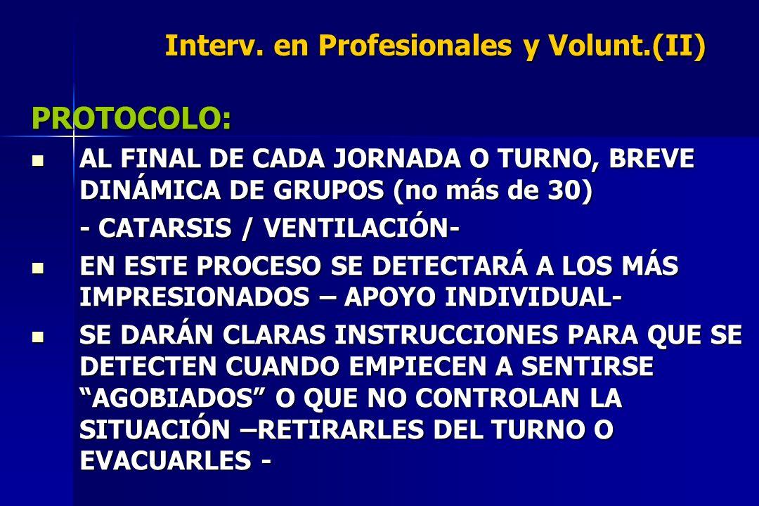 Interv. en Profesionales y Volunt.(II) PROTOCOLO: AL FINAL DE CADA JORNADA O TURNO, BREVE DINÁMICA DE GRUPOS (no más de 30) AL FINAL DE CADA JORNADA O