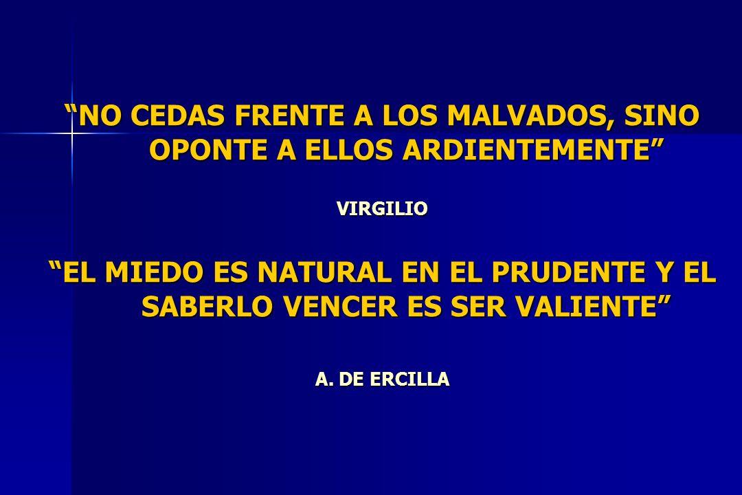 NO CEDAS FRENTE A LOS MALVADOS, SINO OPONTE A ELLOS ARDIENTEMENTE VIRGILIO EL MIEDO ES NATURAL EN EL PRUDENTE Y EL SABERLO VENCER ES SER VALIENTE A. D
