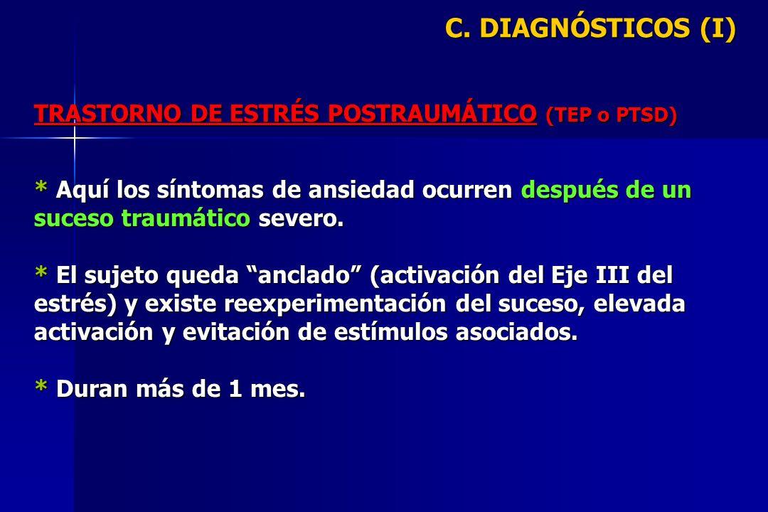 C. DIAGNÓSTICOS (I) TRASTORNO DE ESTRÉS POSTRAUMÁTICO (TEP o PTSD) * Aquí los síntomas de ansiedad ocurren después de un suceso traumático severo. * E