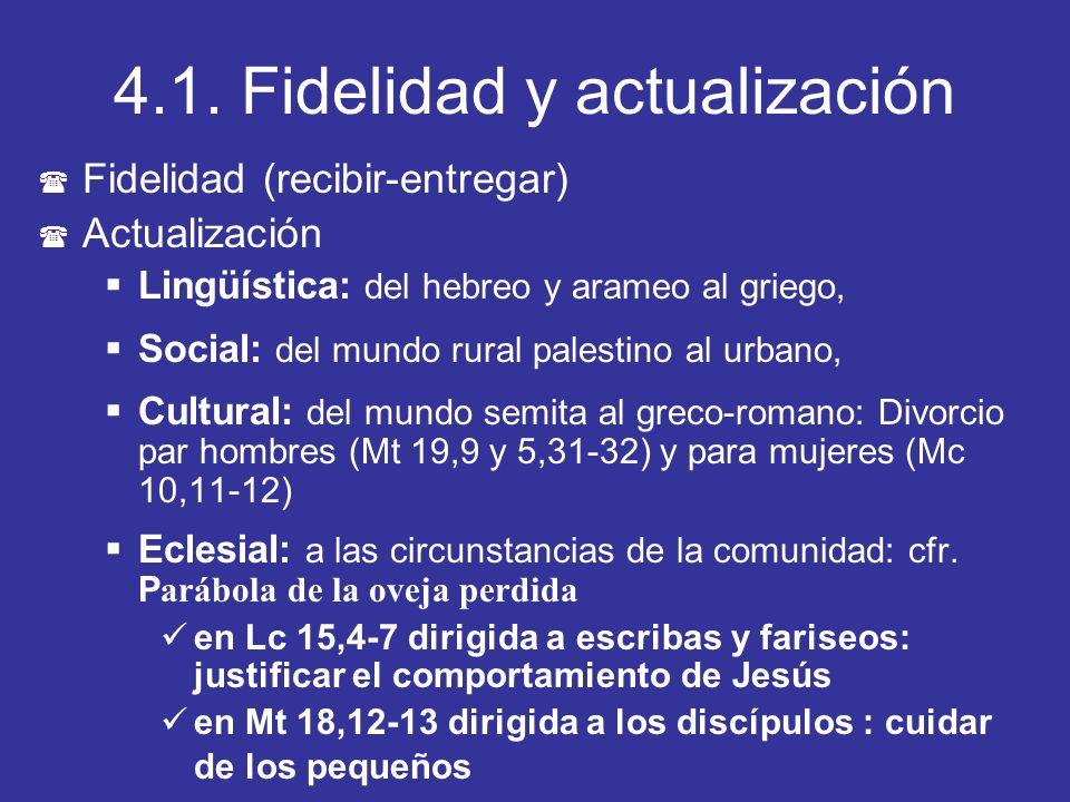 4.1. Fidelidad y actualización ( Fidelidad (recibir-entregar) ( Actualización Lingüística: del hebreo y arameo al griego, Social: del mundo rural pale