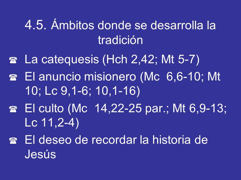 4.5. Ámbitos donde se desarrolla la tradición ( La catequesis (Hch 2,42; Mt 5-7) ( El anuncio misionero (Mc 6,6-10; Mt 10; Lc 9,1-6; 10,1-16) ( El cul