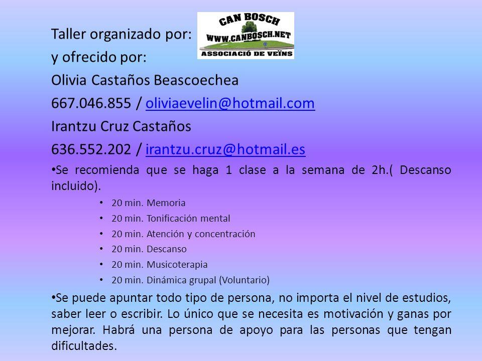 Taller organizado por: y ofrecido por: Olivia Castaños Beascoechea 667.046.855 / oliviaevelin@hotmail.comoliviaevelin@hotmail.com Irantzu Cruz Castaño