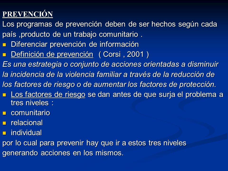 PREVENCIÓN Los programas de prevención deben de ser hechos según cada país,producto de un trabajo comunitario.