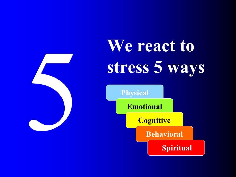 5 We react to stress 5 ways Physical Emotional Cognitive Behavioral Spiritual