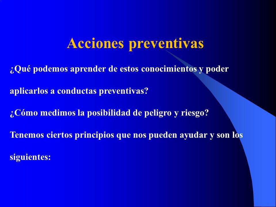 Acciones preventivas ¿Qué podemos aprender de estos conocimientos y poder aplicarlos a conductas preventivas? ¿Cómo medimos la posibilidad de peligro