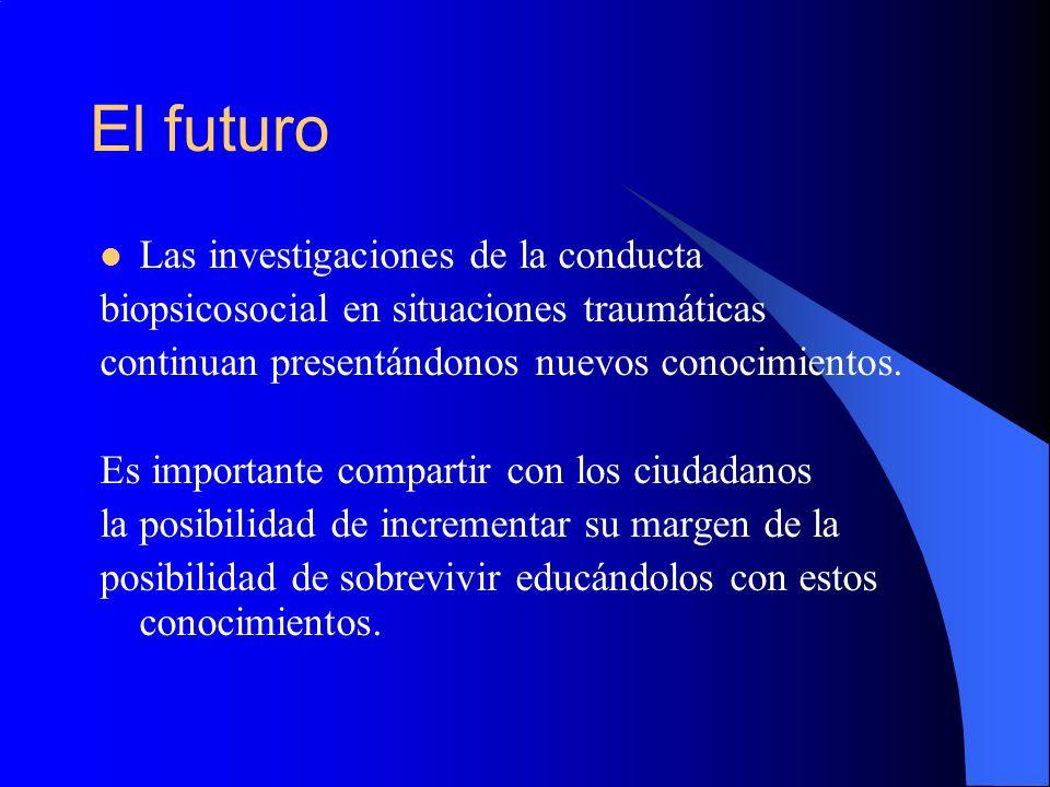 El futuro Las investigaciones de la conducta biopsicosocial en situaciones traumáticas continuan presentándonos nuevos conocimientos. Es importante co