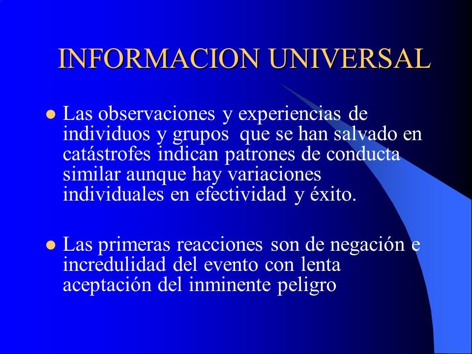 INFORMACION UNIVERSAL Las observaciones y experiencias de individuos y grupos que se han salvado en catástrofes indican patrones de conducta similar a