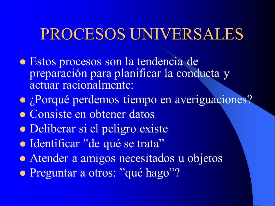 PROCESOS UNIVERSALES Estos procesos son la tendencia de preparación para planificar la conducta y actuar racionalmente: ¿Porqué perdemos tiempo en ave