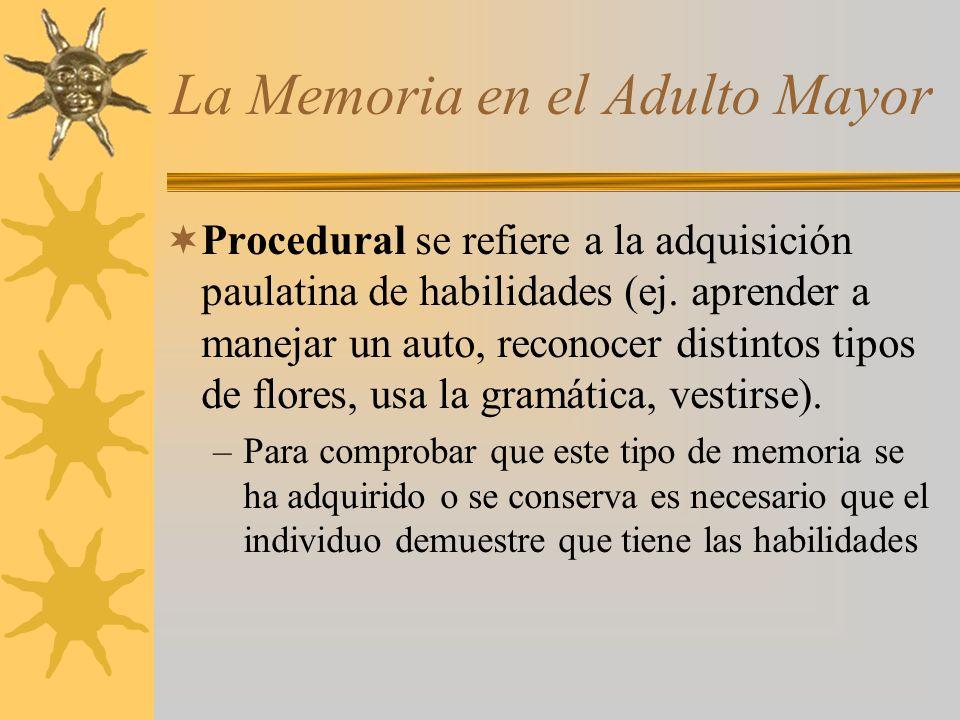 La Memoria en el Adulto Mayor Procedural se refiere a la adquisición paulatina de habilidades (ej. aprender a manejar un auto, reconocer distintos tip