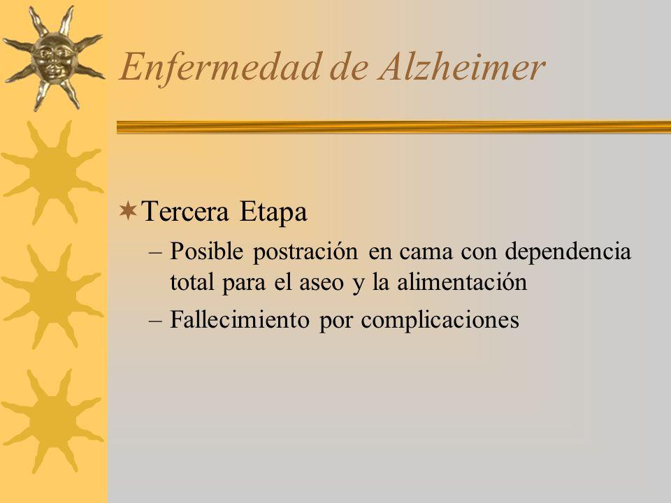 Enfermedad de Alzheimer Tercera Etapa –Posible postración en cama con dependencia total para el aseo y la alimentación –Fallecimiento por complicaciones
