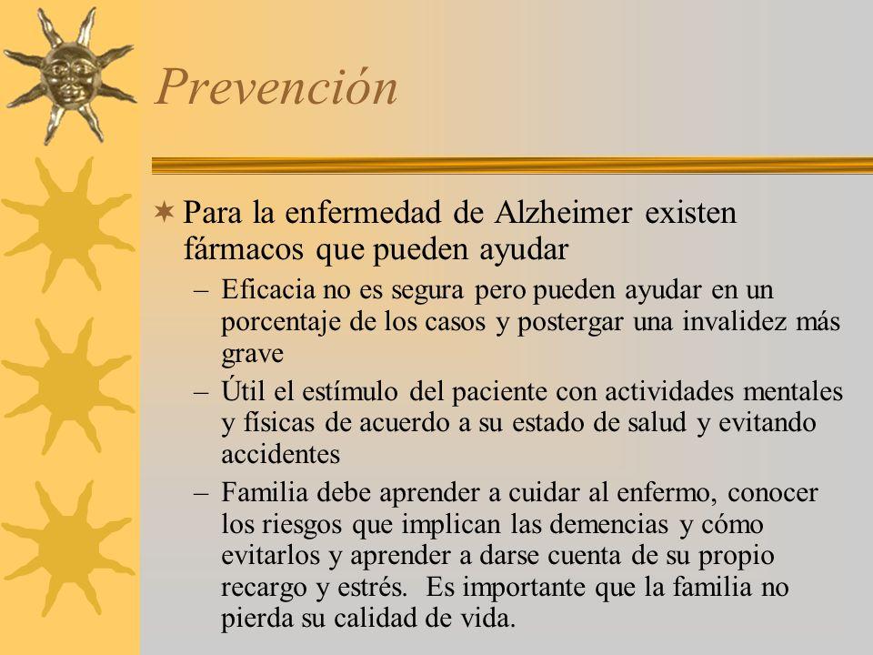Prevención Para la enfermedad de Alzheimer existen fármacos que pueden ayudar –Eficacia no es segura pero pueden ayudar en un porcentaje de los casos
