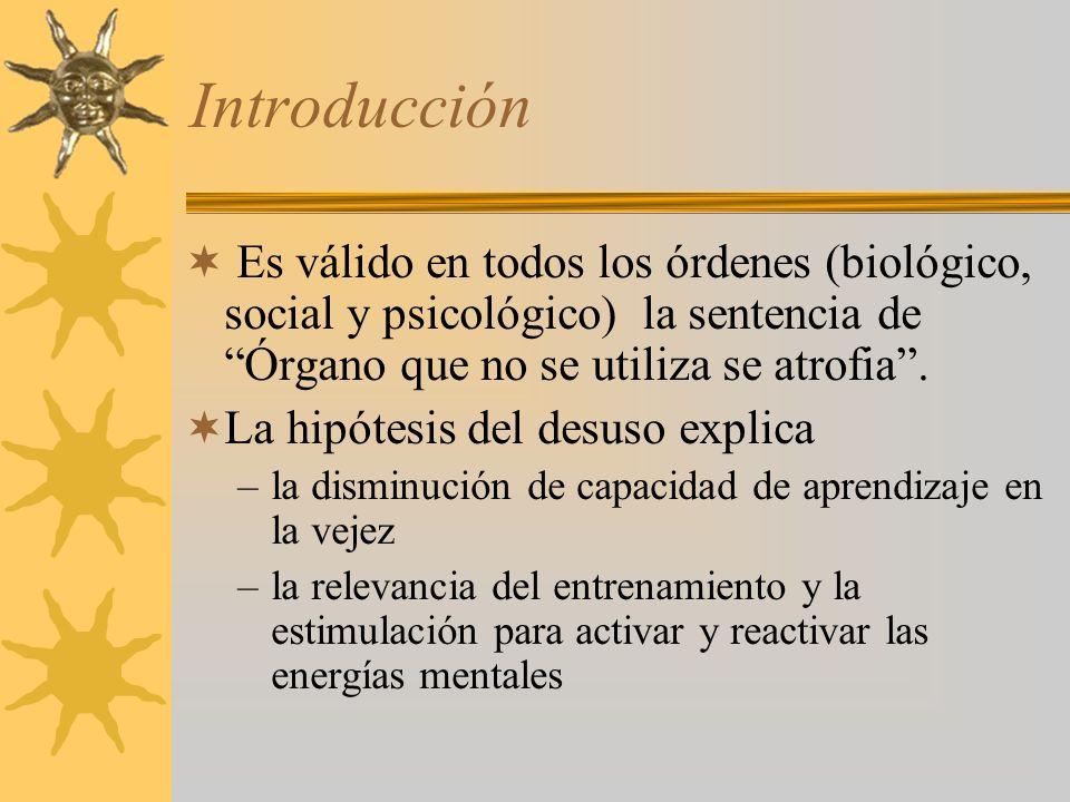 Introducción Es válido en todos los órdenes (biológico, social y psicológico) la sentencia de Órgano que no se utiliza se atrofia.