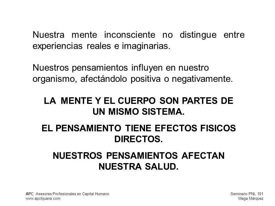 Seminario PNL 101 Maga Márquez APC Asesores Profesionales en Capital Humano www.apctijuana.com Nuestra mente inconsciente no distingue entre experiencias reales e imaginarias.