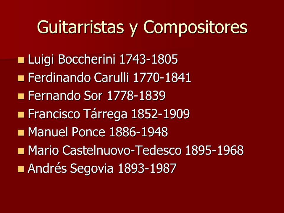 Guitarristas y Compositores Luigi Boccherini 1743-1805 Luigi Boccherini 1743-1805 Ferdinando Carulli 1770-1841 Ferdinando Carulli 1770-1841 Fernando S