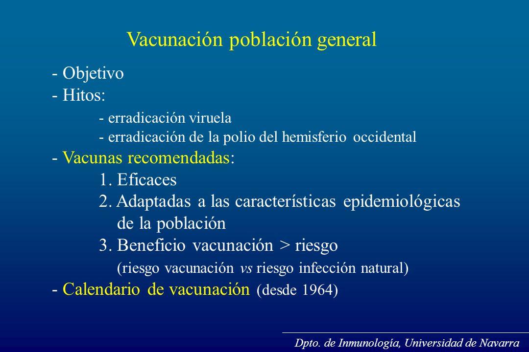 Vacunación población general - Objetivo - Hitos: - erradicación viruela - erradicación de la polio del hemisferio occidental - Vacunas recomendadas: 1