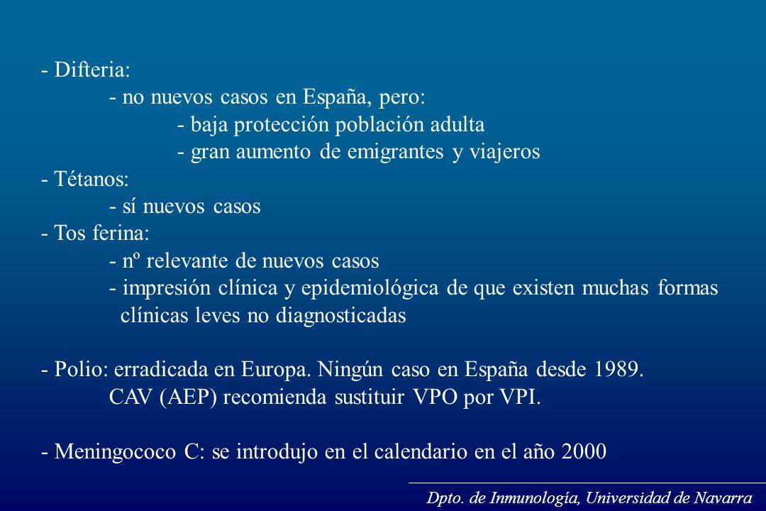 - Difteria: - no nuevos casos en España, pero: - baja protección población adulta - gran aumento de emigrantes y viajeros - Tétanos: - sí nuevos casos