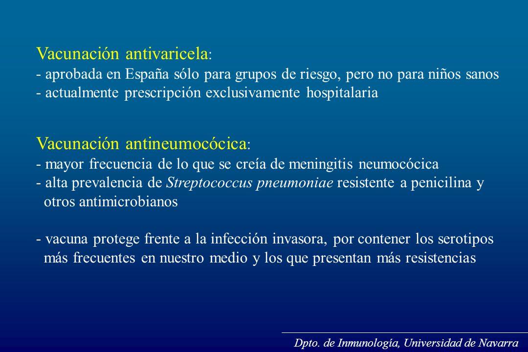 Vacunación antivaricela : - aprobada en España sólo para grupos de riesgo, pero no para niños sanos - actualmente prescripción exclusivamente hospital