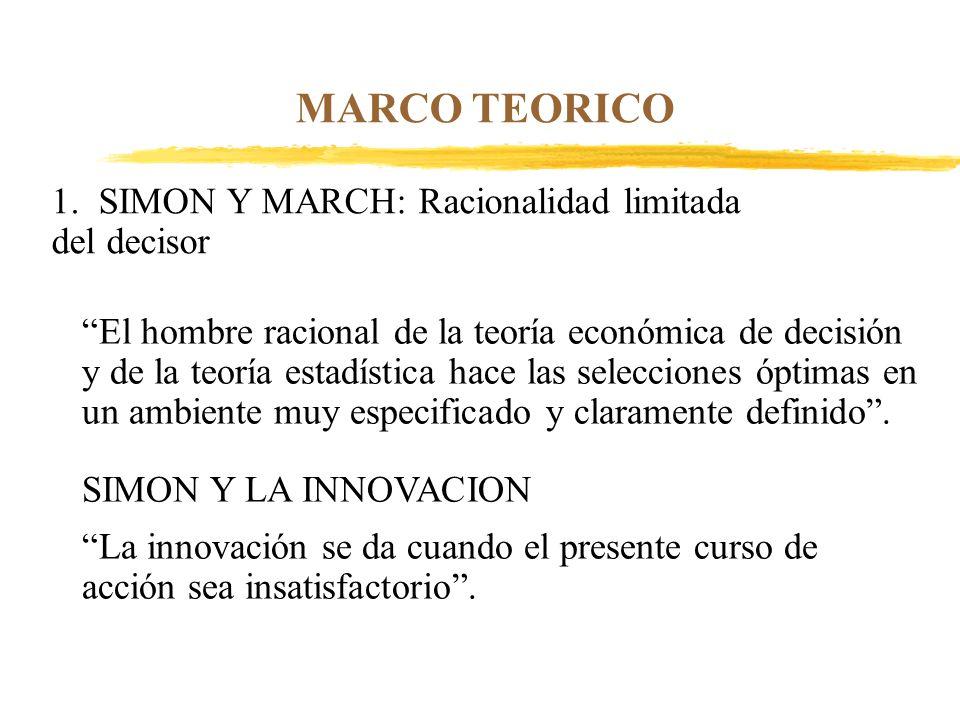 MARCO TEORICO 1. SIMON Y MARCH: Racionalidad limitada del decisor El hombre racional de la teoría económica de decisión y de la teoría estadística hac