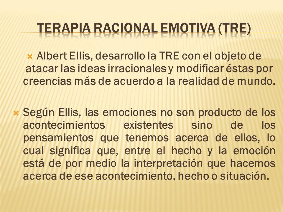 Albert Ellis, desarrollo la TRE con el objeto de atacar las ideas irracionales y modificar éstas por creencias más de acuerdo a la realidad de mundo.