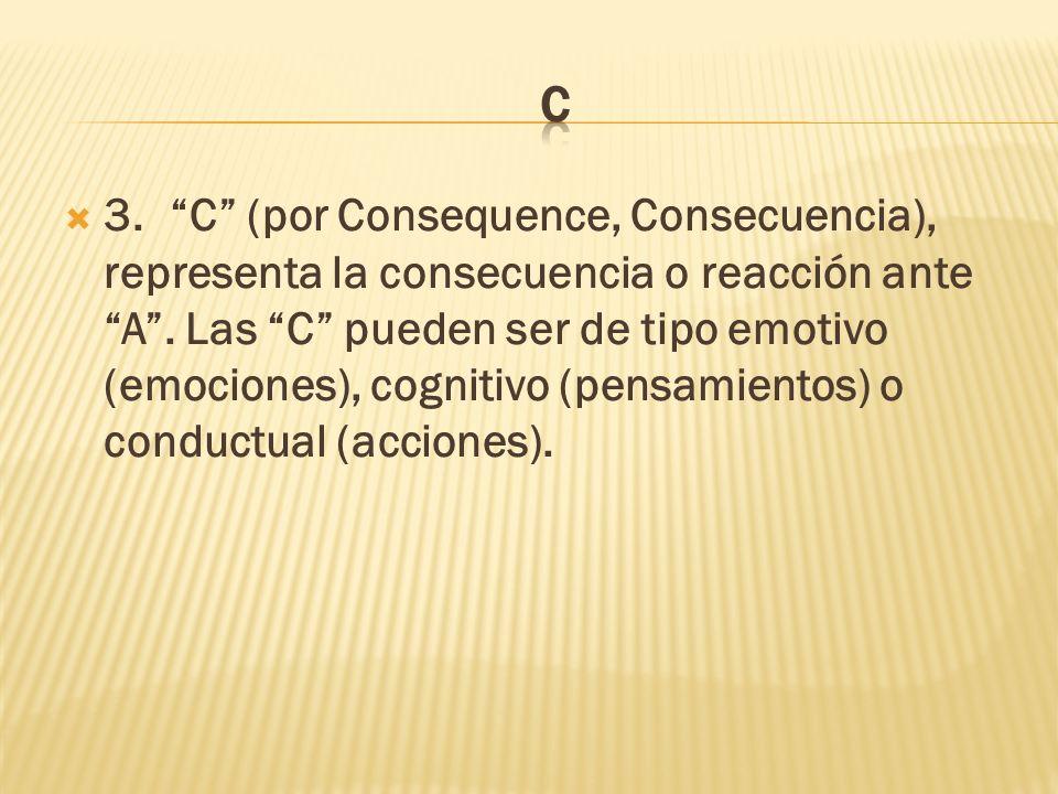 3.C (por Consequence, Consecuencia), representa la consecuencia o reacción ante A.