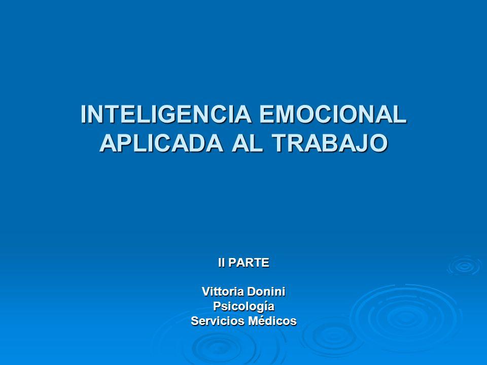 INTELIGENCIA EMOCIONAL APLICADA AL TRABAJO II PARTE Vittoria Donini Psicología Servicios Médicos