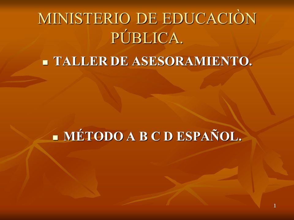 1 MINISTERIO DE EDUCACIÒN PÚBLICA. TALLER DE ASESORAMIENTO. TALLER DE ASESORAMIENTO. MÉTODO A B C D ESPAÑOL. MÉTODO A B C D ESPAÑOL.
