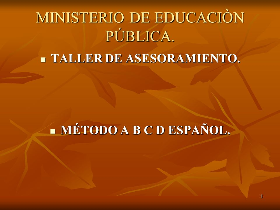 1 MINISTERIO DE EDUCACIÒN PÚBLICA.TALLER DE ASESORAMIENTO.