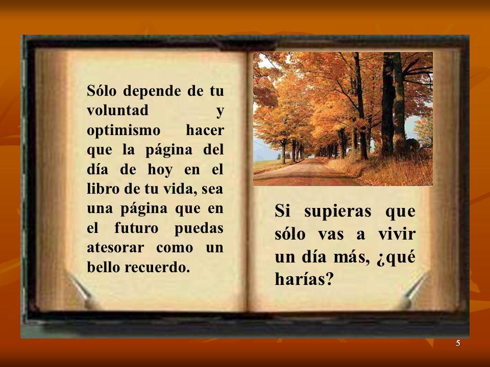 5 Sólo depende de tu voluntad y optimismo hacer que la página del día de hoy en el libro de tu vida, sea una página que en el futuro puedas atesorar como un bello recuerdo.