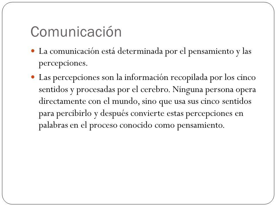 Comunicación La comunicación está determinada por el pensamiento y las percepciones. Las percepciones son la información recopilada por los cinco sent