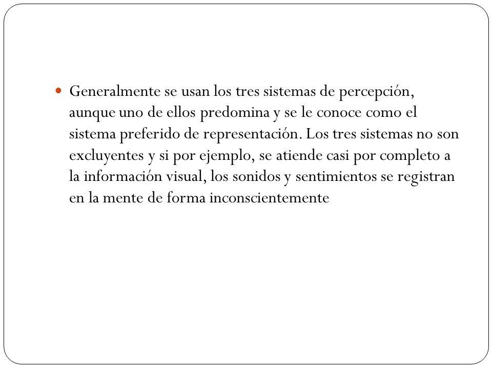 Generalmente se usan los tres sistemas de percepción, aunque uno de ellos predomina y se le conoce como el sistema preferido de representación. Los tr