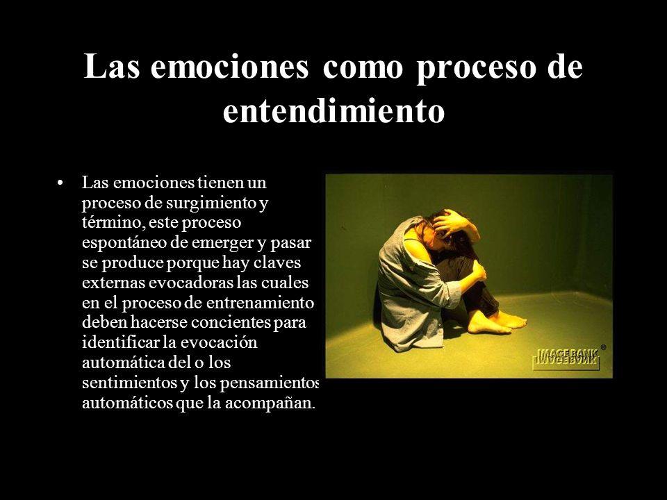 Las emociones como proceso de entendimiento Las emociones tienen un proceso de surgimiento y término, este proceso espontáneo de emerger y pasar se pr