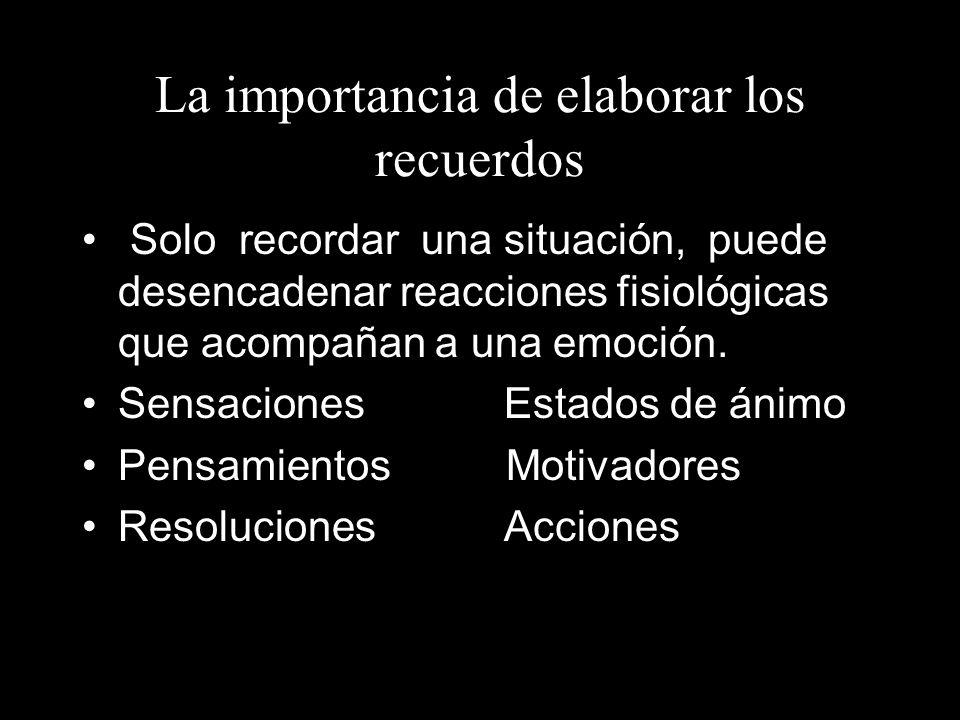 La importancia de elaborar los recuerdos Solo recordar una situación, puede desencadenar reacciones fisiológicas que acompañan a una emoción. Sensacio
