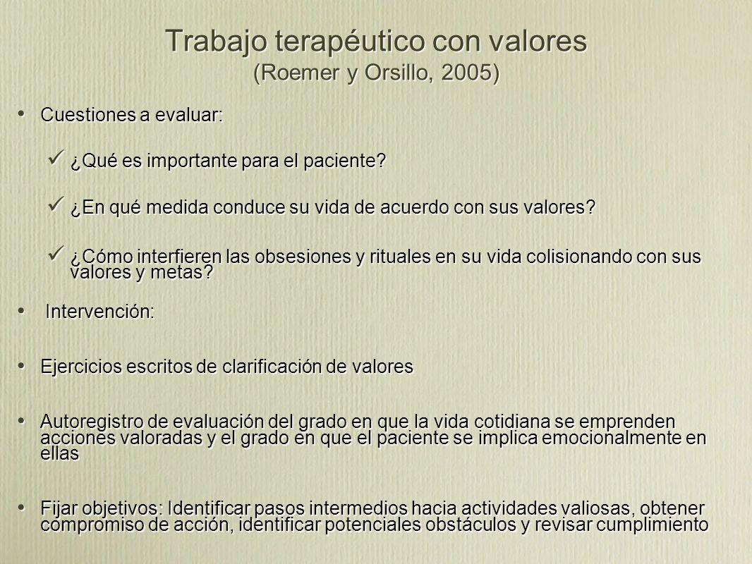 Trabajo terapéutico con valores (Roemer y Orsillo, 2005) Cuestiones a evaluar: ¿Qué es importante para el paciente.