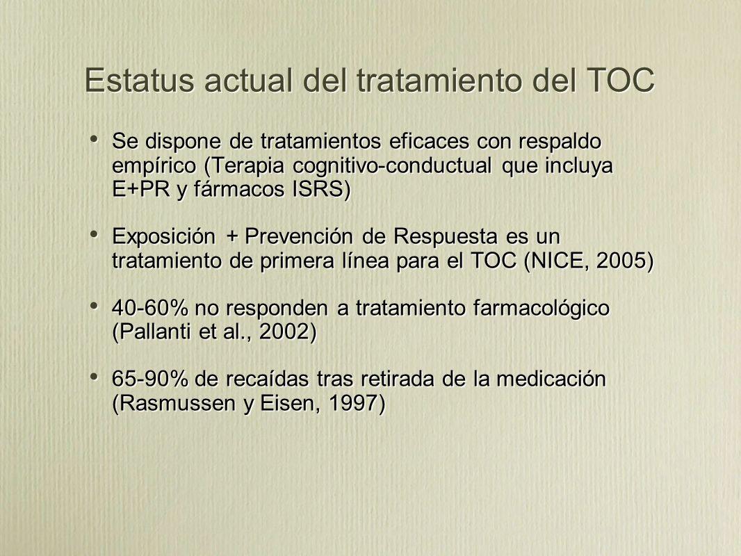 Estatus actual del tratamiento del TOC Se dispone de tratamientos eficaces con respaldo empírico (Terapia cognitivo-conductual que incluya E+PR y fármacos ISRS) Exposición + Prevención de Respuesta es un tratamiento de primera línea para el TOC (NICE, 2005) 40-60% no responden a tratamiento farmacológico (Pallanti et al., 2002) 65-90% de recaídas tras retirada de la medicación (Rasmussen y Eisen, 1997) Se dispone de tratamientos eficaces con respaldo empírico (Terapia cognitivo-conductual que incluya E+PR y fármacos ISRS) Exposición + Prevención de Respuesta es un tratamiento de primera línea para el TOC (NICE, 2005) 40-60% no responden a tratamiento farmacológico (Pallanti et al., 2002) 65-90% de recaídas tras retirada de la medicación (Rasmussen y Eisen, 1997)
