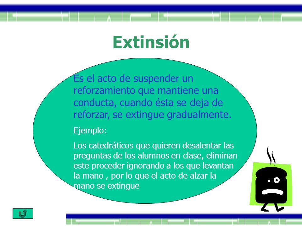 Extinsión Es el acto de suspender un reforzamiento que mantiene una conducta, cuando ésta se deja de reforzar, se extingue gradualmente. Ejemplo: Los