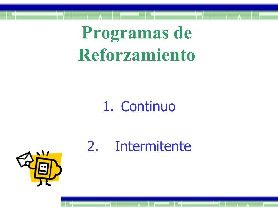 Programas de Reforzamiento 1.Continuo 2.Intermitente
