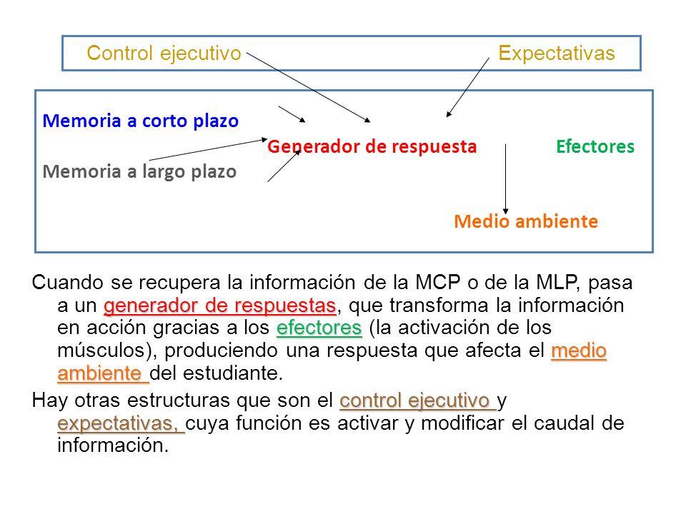 Memoria a corto plazo Generador de respuesta Efectores Memoria a largo plazo Medio ambiente generador de respuestas efectores medio ambiente Cuando se