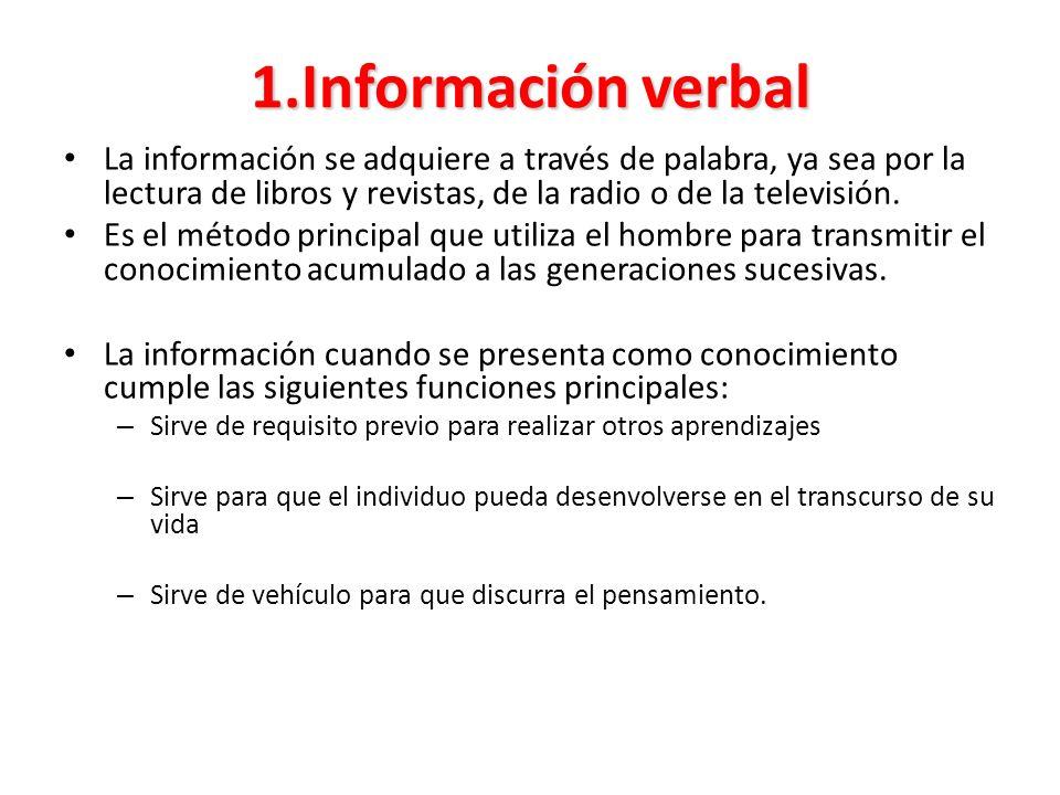1.Información verbal La información se adquiere a través de palabra, ya sea por la lectura de libros y revistas, de la radio o de la televisión. Es el