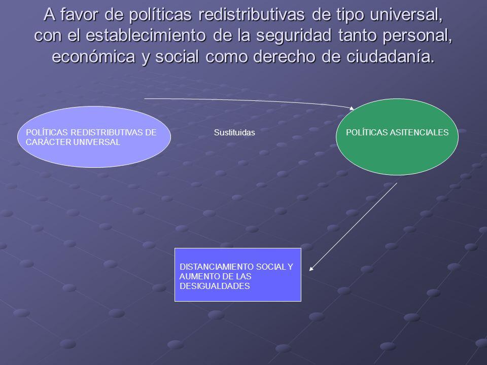 A favor de políticas redistributivas de tipo universal, con el establecimiento de la seguridad tanto personal, económica y social como derecho de ciud